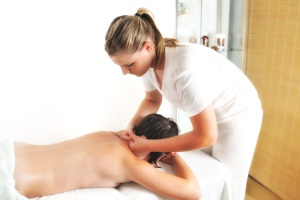 back massage at the spa and wellness center